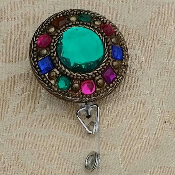 Bejeweled Vintage Retractable Badge Holder