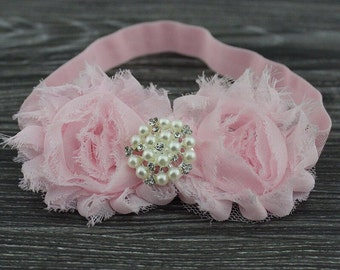 Light Pink Shabby Chic Headband With A Pearl Embellishment .. Comes in Other Colors!!!