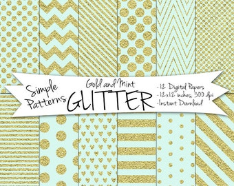 Gold and Mint Digital Paper // Mint and Gold Glitter Paper // Digital Glitter Paper // Gold and Mint Paper // Digital Gold Polka Dot Paper