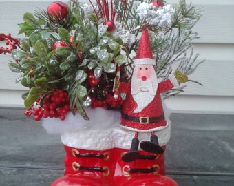 Holiday arrangement. Santa boots table decor. Holiday decor. Christmas decor. Santa decor, tabletop decor, Christmas florals, Santa theme
