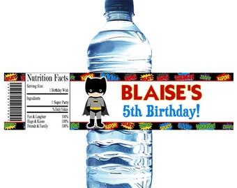 Superhero Birthday Party Water Bottle Wrapper Party Favor Digital OR Printed FREE SHIPPING