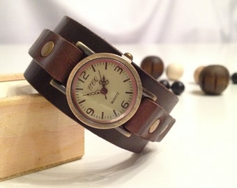 Retro leather cuff watch Antique bronze Leather bracelet watch Wrist leather watch Vintage leather watch dark brown Christmas gift for her