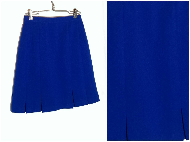 vintage cobalt blue skirt pleated flare by midwestvintageshop