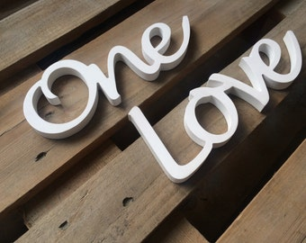 script wooden letters one love sign unique gift and home decor ustom wedding gift wedding decor anniversary gift custom wood sign