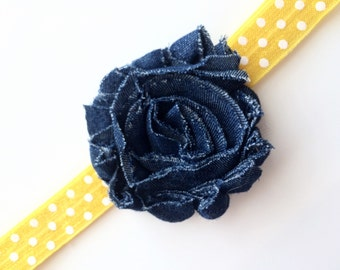 Denim Flower Headband - Yellow Headband for Girls - Headband Photo Prop for Spring and Summer - Bright Yellow Polka Dot Head Band