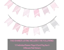 Pink And Gray DIY Banner, Party Flag Banner Ideas, Printable Banner Ideas, Ballet Printable Flag, Flag Banner Ideas - By Printables 4 Less