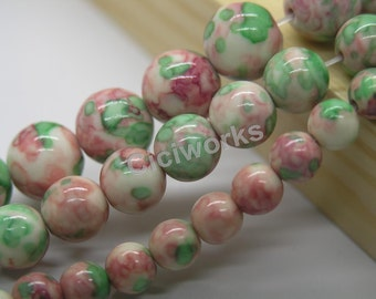 U Pick!!High Quality  6mm//8mm/10mm/12mm 15'' Smooth Round Pink&Green Rain Flower Stones Beads Semiprecious Gemstone Bead MCJ49J