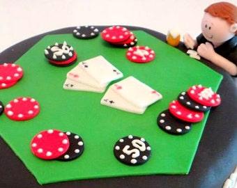 1 Fondant Casino, Poker night, Vegas Fathers Day Cake Topper