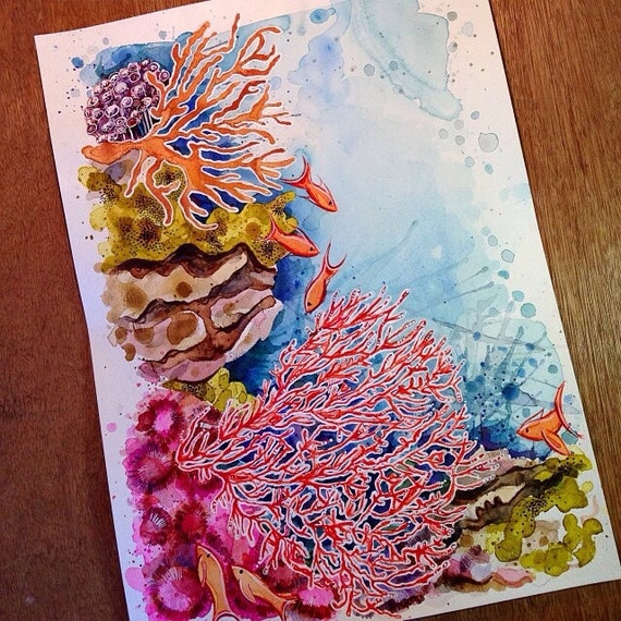 ORIGINAL Watercolor Coral Reef Painting 11x14