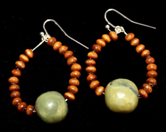 wood & Stone bead hoop earrings