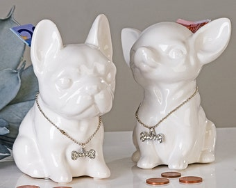 NEW! Money box, Dog Chihuahua Comics WHITE, for decoration or collection, 4.7 inches / 12 centimeters
