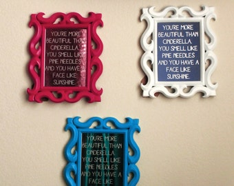 Bridesmaids Gift, Movie Quote in Etched Mirror Glass, Ornate 5x7 Frame