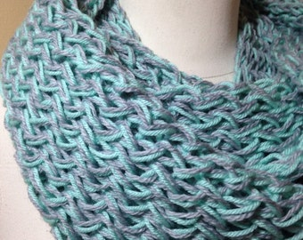 Mint Green and Light Gray Double Knit Infinity Scarf