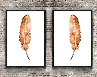 Two Feathers Art Print Set Feather Print Natural Color Native American Decor