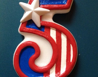Captain America Inspired Birthday Candle