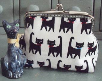 Black cat purse, cat coin purse, cat lovers gift