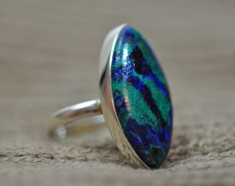 Azurite Malachite Ring Size 8
