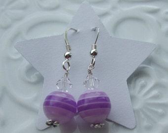 Purple Stripe Sterling Silver earrings