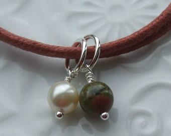 Unakite and Swarovski Pearl Sterling Silver Friendship Bracelet