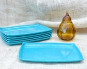 Turquoise snack tray // vintage party trays- set of 6 // appetizer trays