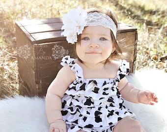 Cow Print Petti Romper-Cow Print Romper-Ruffle Romper-Satin Romper-Petti Romper-Farm BirthdayOutfit-Shabby Chic Petti Romper-Country Wedding