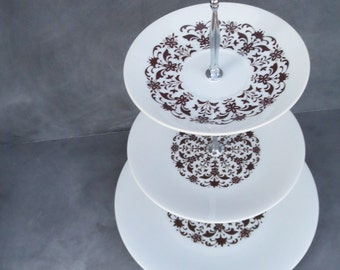 Tiered Cake Stand, China Cupcake Stand | Fine China, Brown & White Stamped Pattern, Dinnerware (Item #000168)