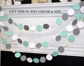 Mint green gray white paper circle garland, wedding garland, bridal and baby shower garland, party garland,