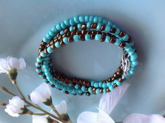 Turquoise bracelet, wrap bracelet, yoga jewelry, seed bead bracelet, beaded bracelet, yoga bracelet, handcrafted, trendy jewelry
