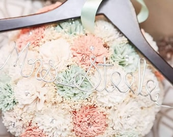 Rustic Mint Green and Peach Sola Flower Bouquet