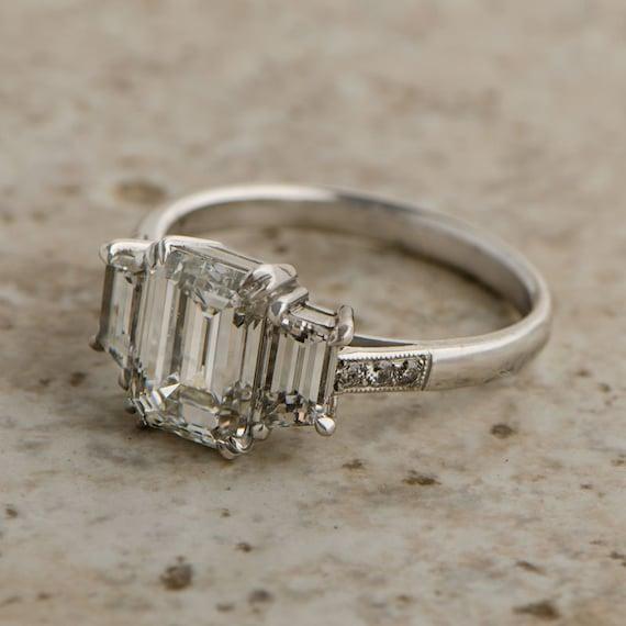 vintage emerald cut ring by estatediamondjewelry