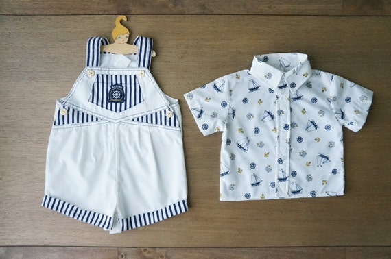 Vintage Baby Clothes 2 Pc Baby Boy Marine by DearKaleidoscope