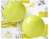 Vintage Bowls - Mid Century Melamine Serving Bowl Set - Chartreuse Green Bohemian Kitchen Decor