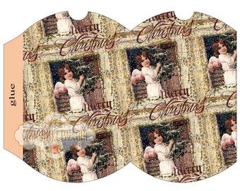 CHRISTMAS ANGEL - Printable Pillow Box - Digital Image Sheet Download Box - Print and Cut