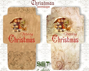 MARRY CHRISTMAS - Printable 2 Envelopes Download Digital Collage Sheet  - Print and Cut