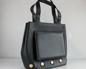 Vintage Salvatore Ferragamo bag / black leather bag