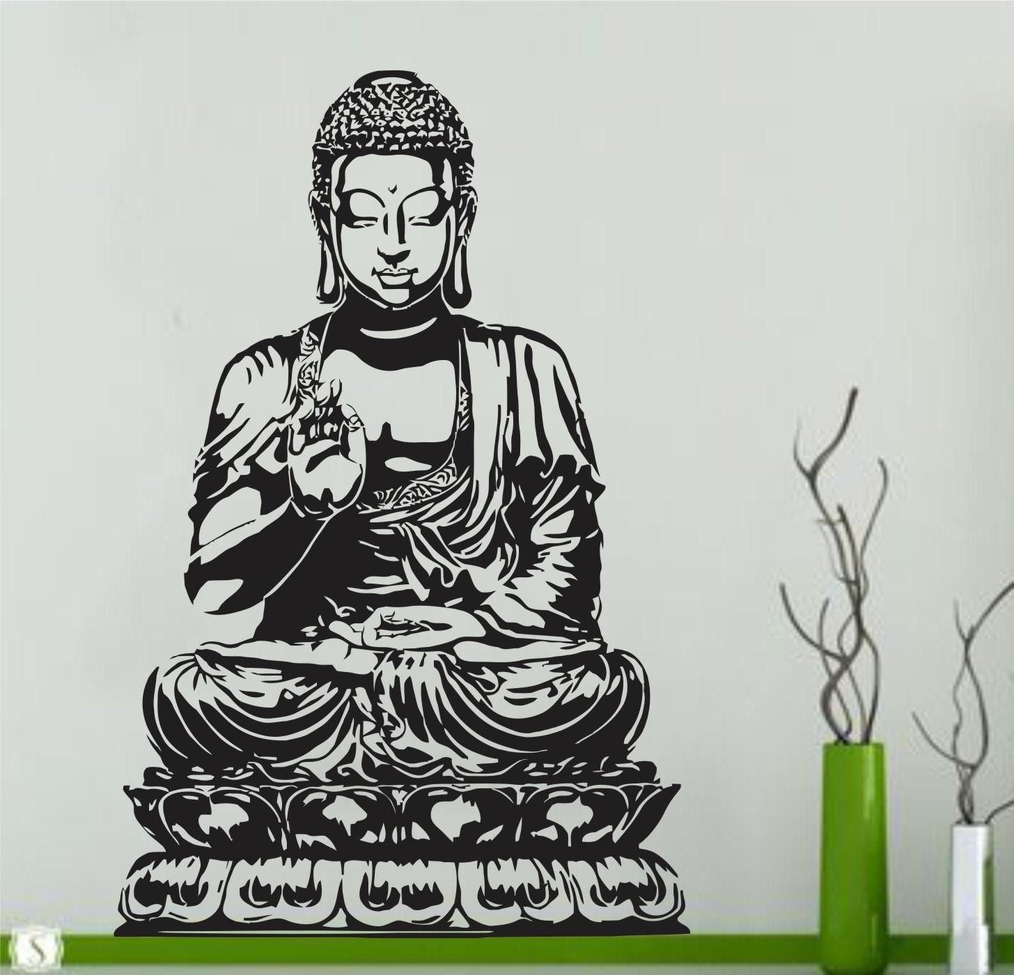 Buddha wall decal vinyl sticker decals art decor wall decal for Buddha wall art