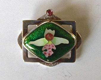 Wild Orchid Cloisonné Enamel Pin/Pendant