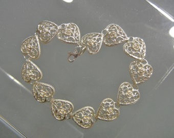 Vintage Sterling Silver Filigree Heart Bracelet, sterling filigree bracelet, sterling silver heart bracelet