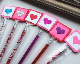 kids heart birthday pencil favor classroom exchange party goodie bag gift tag