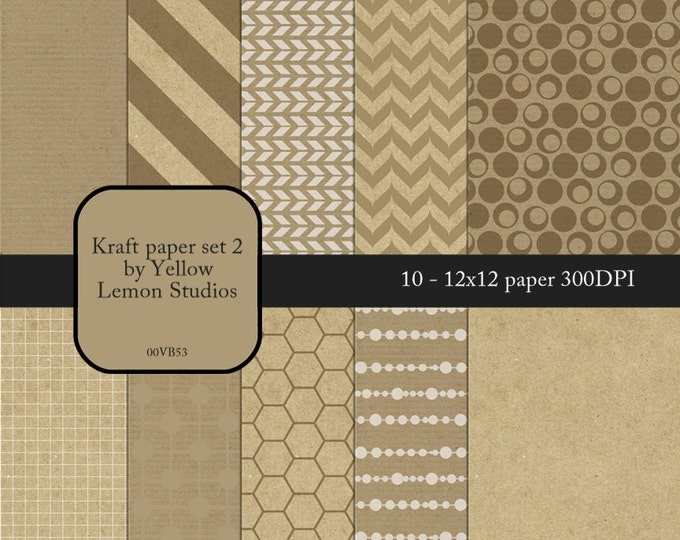 "Fancy digital paper: ""KRAFT DESIGNS"" Kraft paper with white mixed patterns, arrows, circles backgrounds on brown beige kraft paper"
