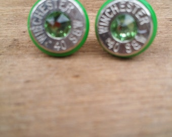 green and peridot .40 caliber stud earring with color ring
