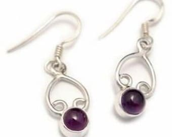 Amethyst Crystal Drop Earrings Gemstone Earrings Semi Precious Stones in Sterling Silver Crystal Jewellery