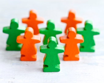 Tiny Wooden People in Green and Orange - Creative Supplies