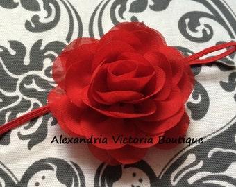 RED ROSE HEADBAND, chiffon flower headband, valentines day headband, girls headband, newborn headband, shabby chic headband, christmas.
