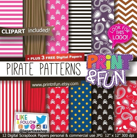 Carta digitale pirati sfondi digitali rosa blu festa pirata - Pirata colorazione pirata stampabili ...