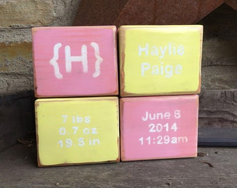 Yellow and Pink Birth Announcement Blocks