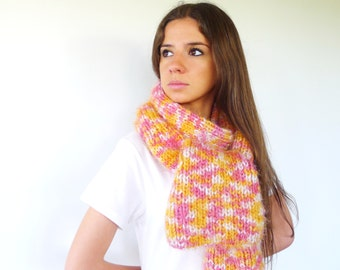 Yellow and pink knit scarf. Knitted scarf. Womens wool scarf. Gift idea for girls