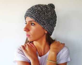 Grey knit pom beanie. Hand knit beanie. Womens winter hat. Womens knitted hat. Gift idea for her