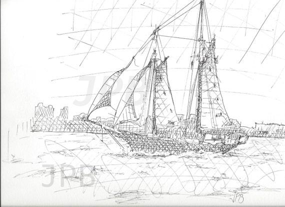 Boat Sketch Drawing Ink Drawing Sail Boat