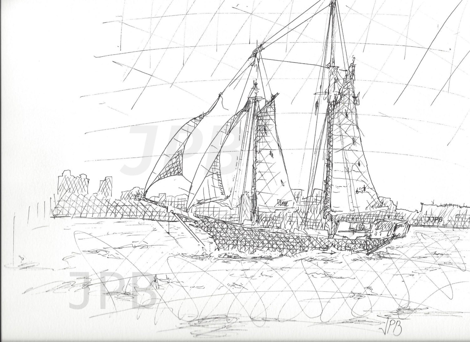 ink drawing sail boat nautical sketch hatch water scene